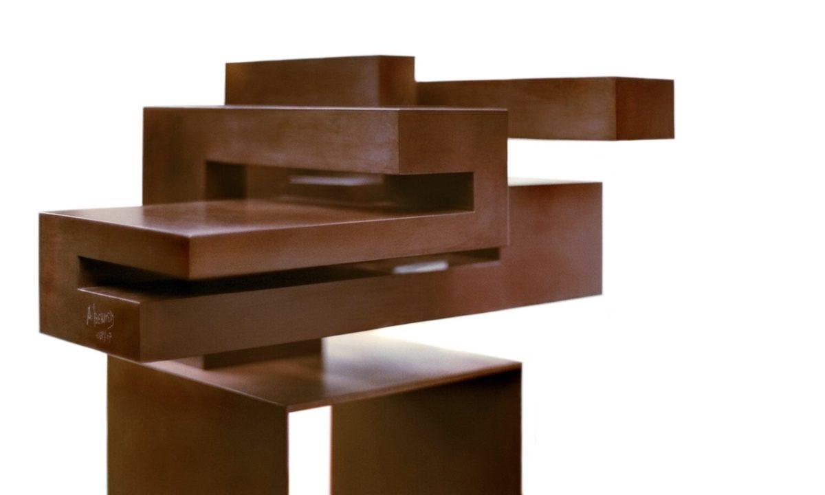 Oxidized corten steel sculpture