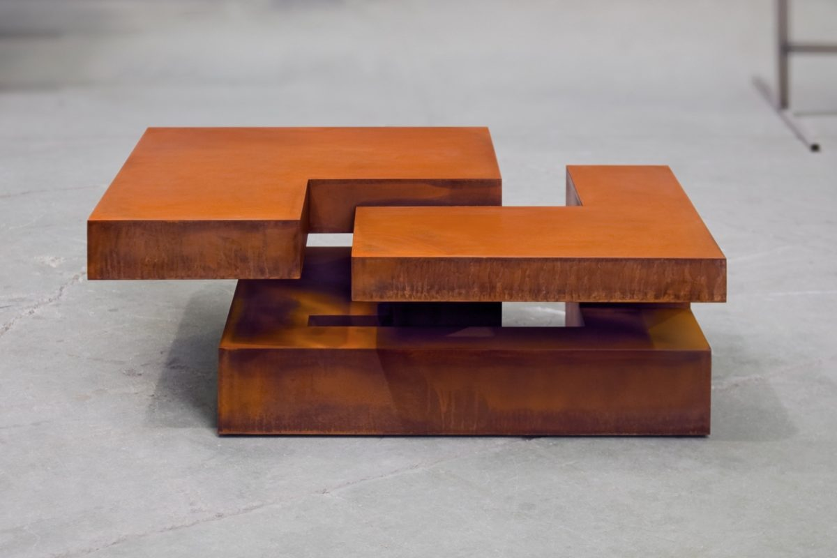 Table created by the spanish sculptor Arturo Berned, made with oxidized corten steel