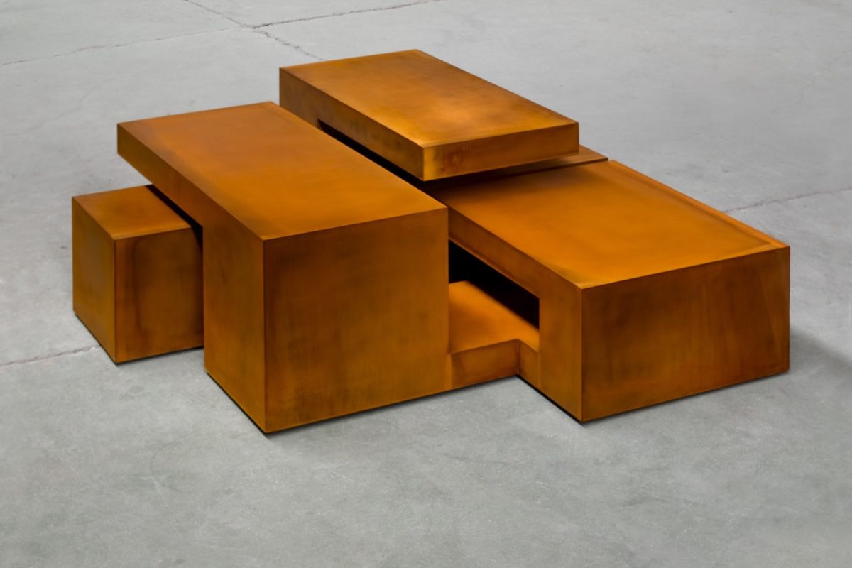 Caja de acero corten con acabado oxidado