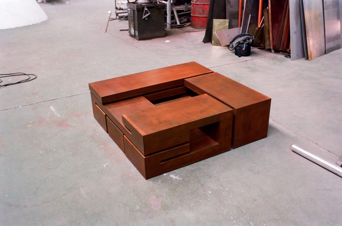 Table made with corten steel by sculptor Arturo Berned
