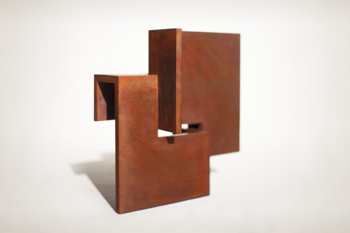 Limited edition made with corten steel with oxidized and waxed finish