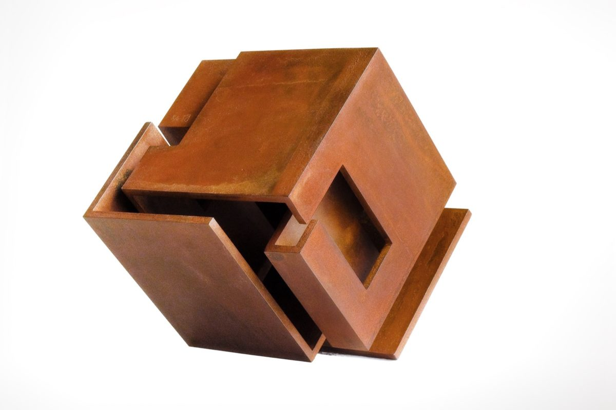 Cortes steel sculpture with oxidized and waxed finish