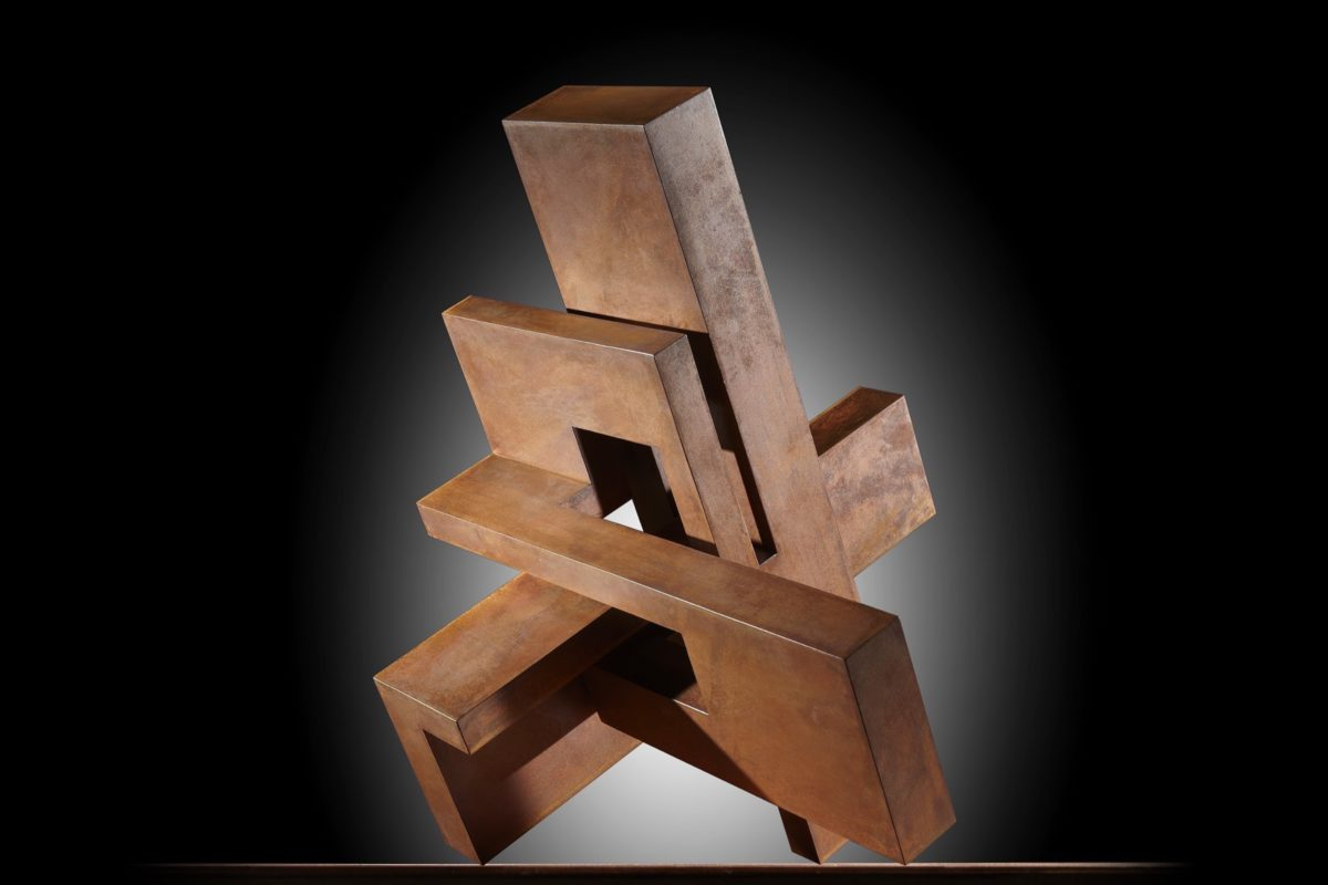 Corten steel sculpture with oxidized finish