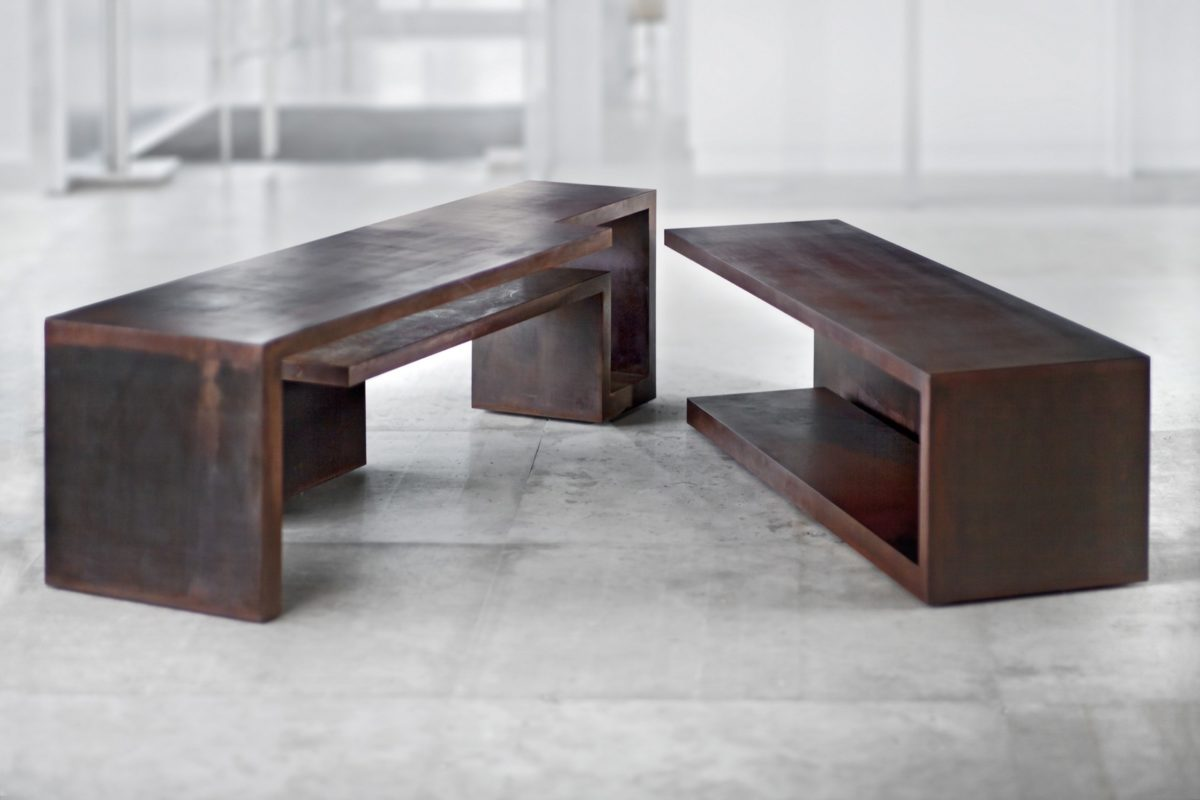 Corten steel table sculpture with oxidized and waxed finish