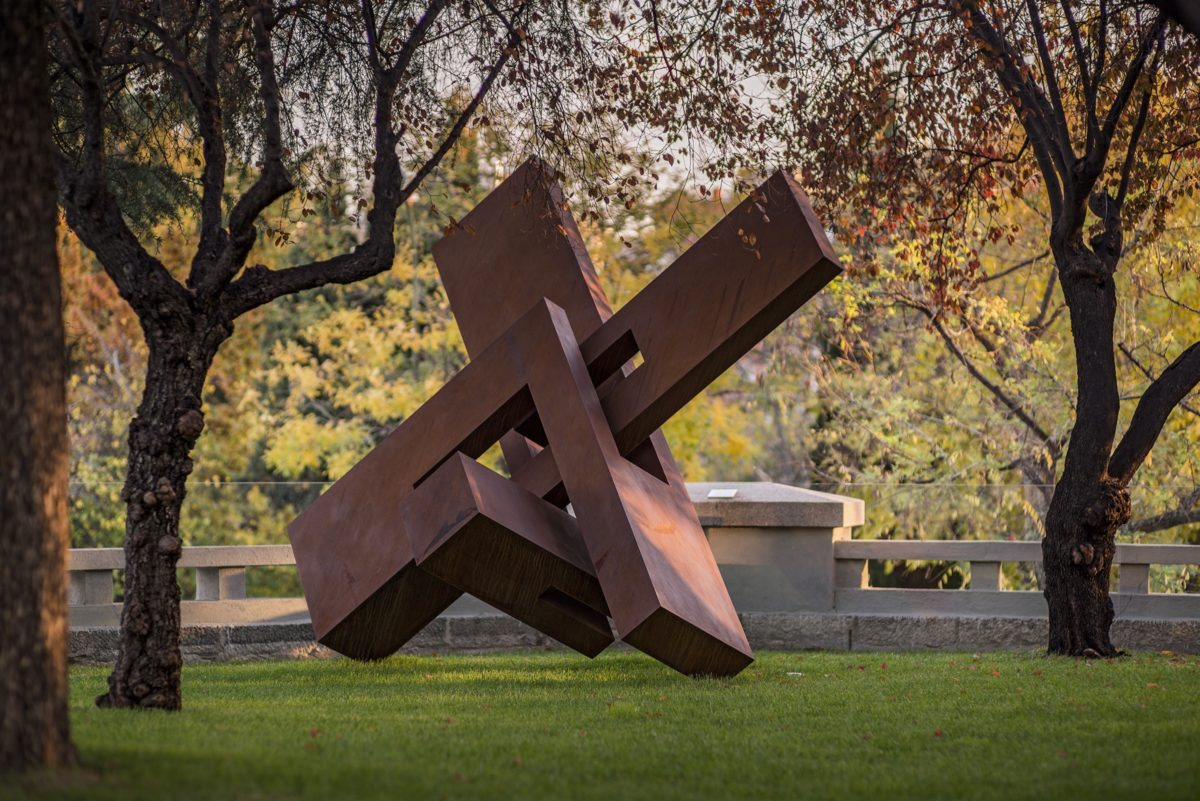 Large scale work by spanish sculptor Arturo Berned, made with oxidized corten steel