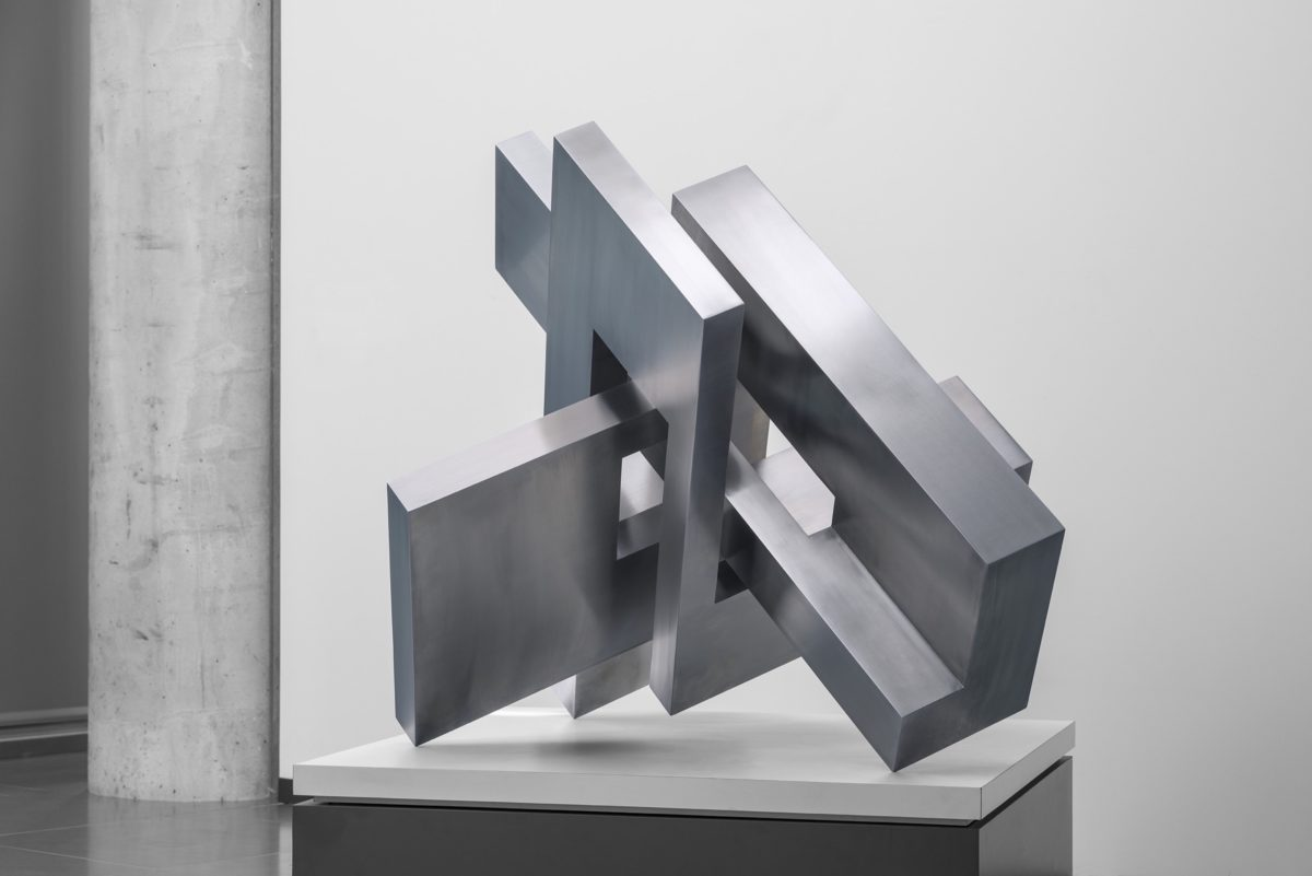 Arturo Berned's sculpture made with polished stainless steel