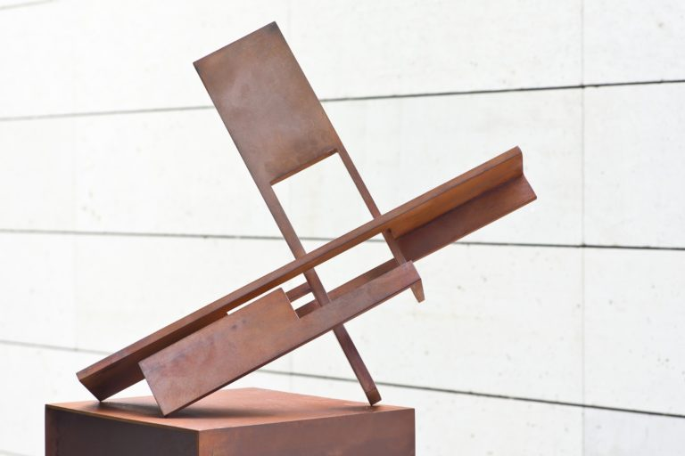 Sculpture by Arturo Berned, made with oxidized corten steel