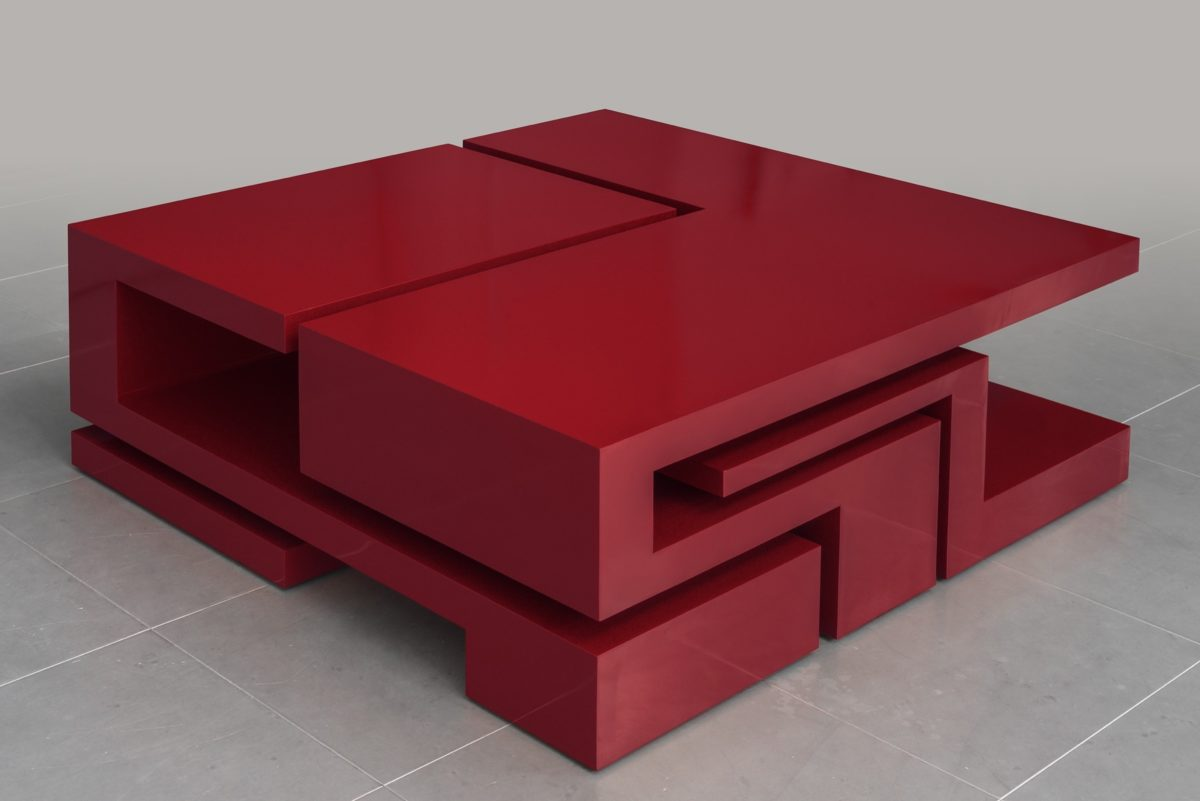 Corten steel box with red lacquered finish