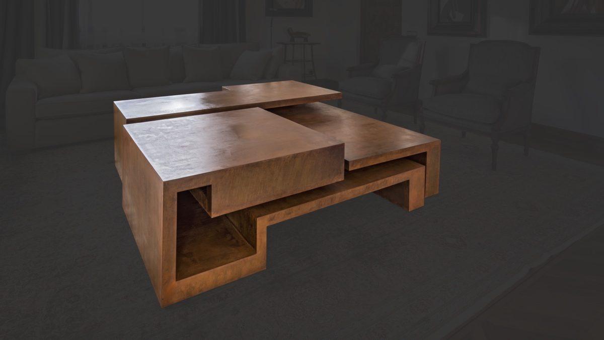 Mesa en acero corten oxidado