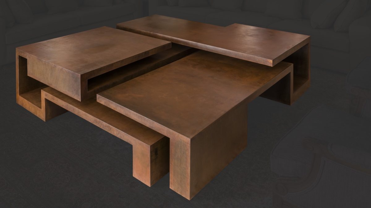 Oxidized corten steel table by Arturo Berned