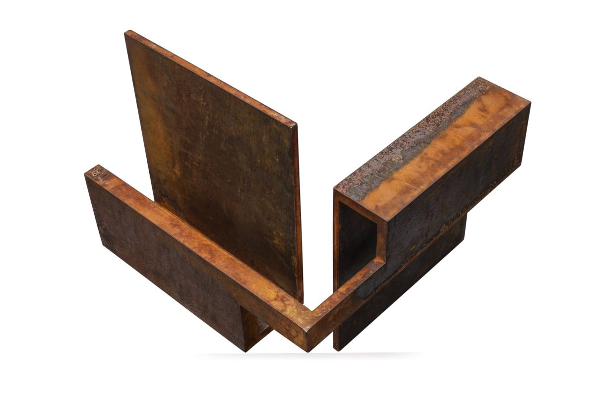 Oxidozed corten steel geometric sculpture