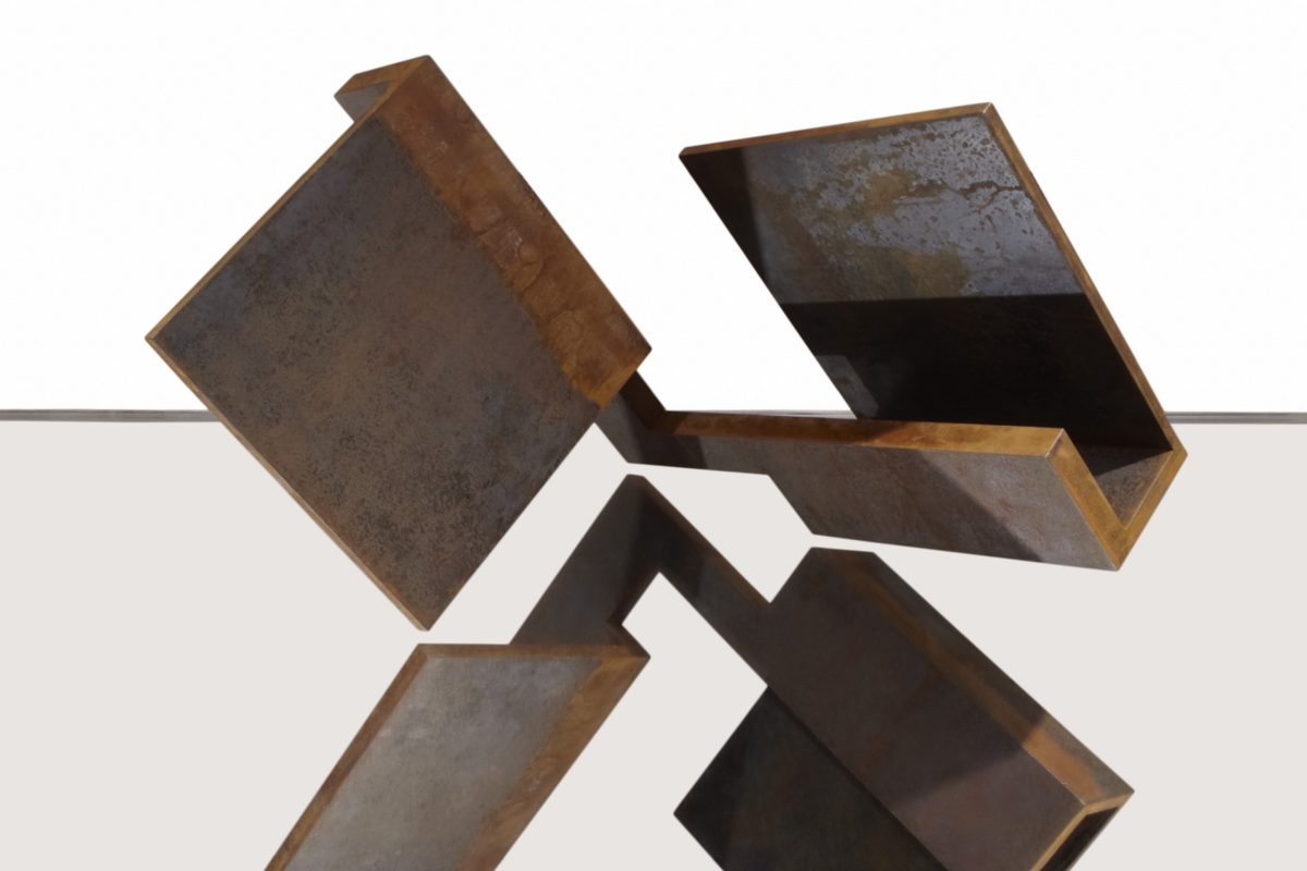 Corten steel work by Arturo Berned inspired by Yin Yang's chinese philosphy