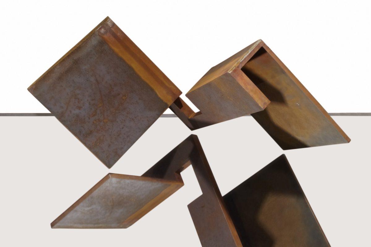 Oxidized corten steel sculpture by Arturo Berned