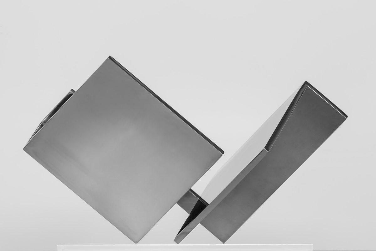 Stainless steel sculpture with chromed finish by Arturo Berned