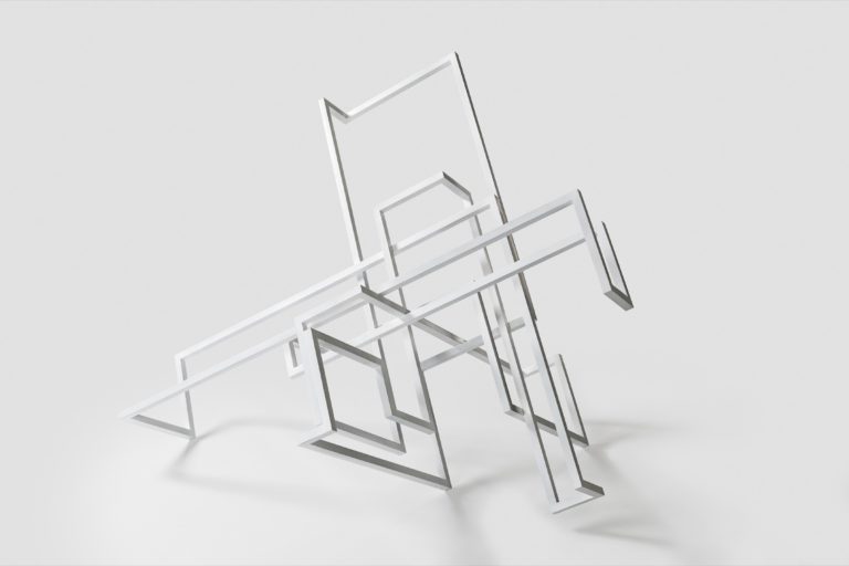 25mm square section steel sculpture with white lacquered finish