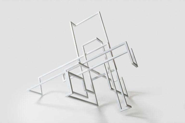 Escultura hecha con barras de acero con acabado lacado blanco