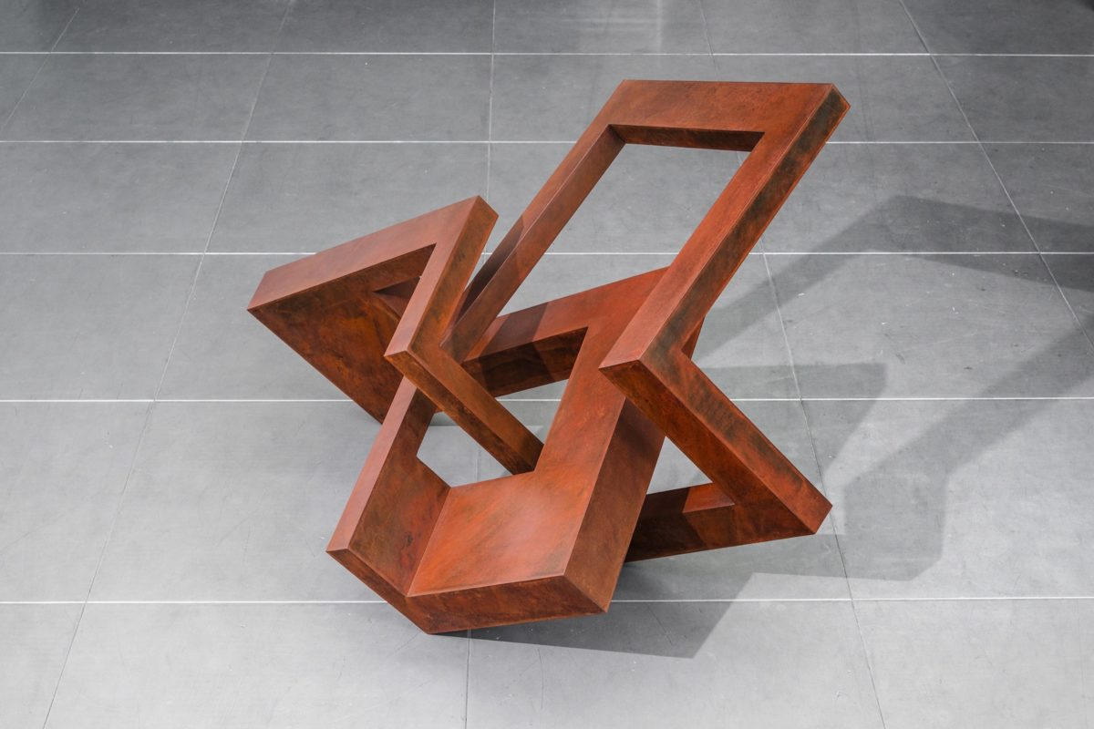 Sculpture made with corten steel and oxidized and waxed finish