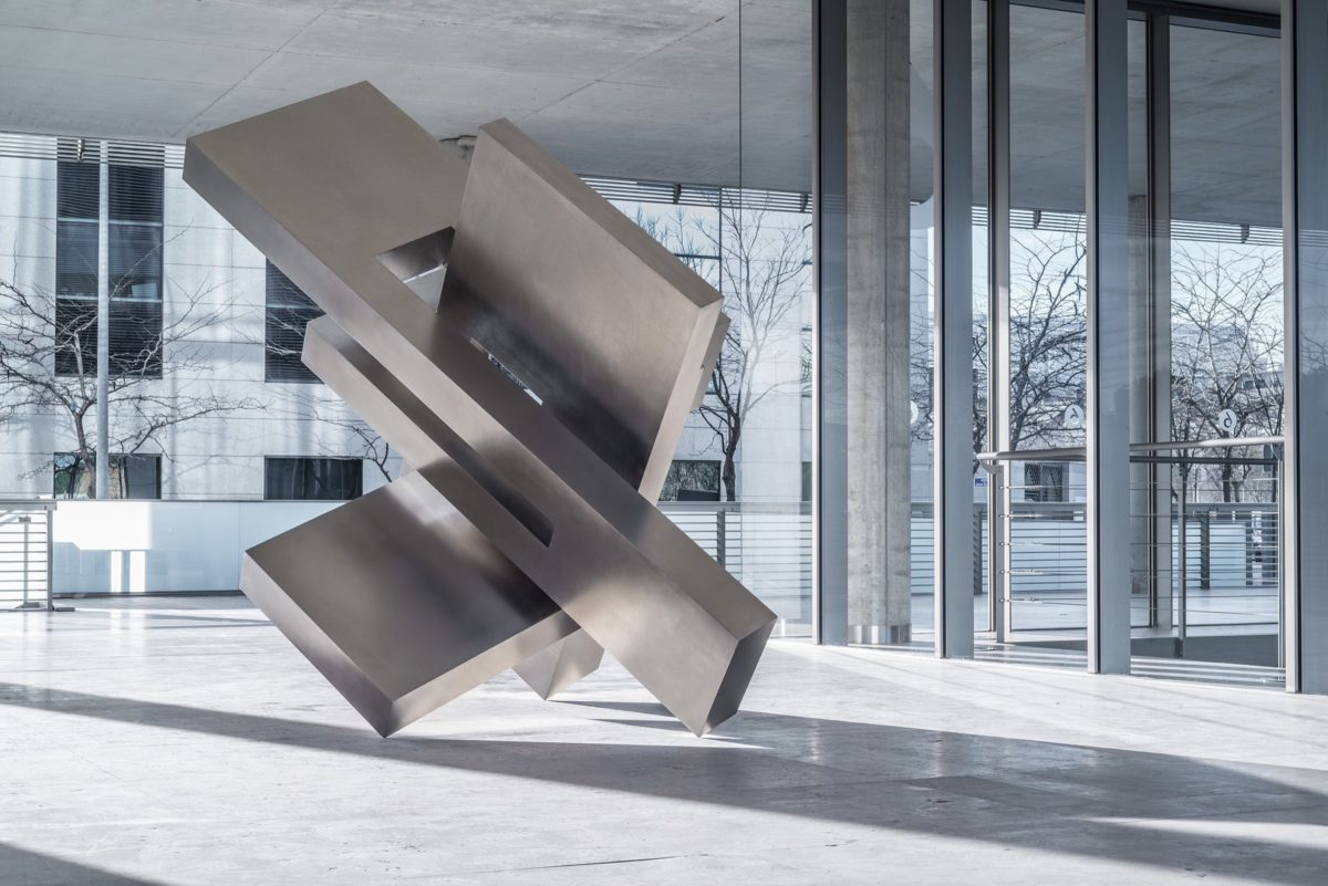 Large scale stainless steel sculpture by Arturo Berned