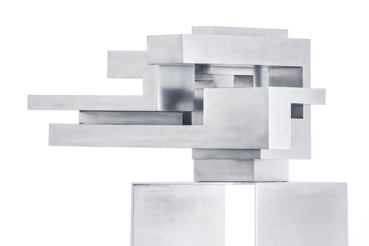Stainless steel sculpture inspired by Malevich architecture