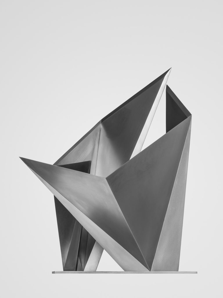 Stainless steel sculpture with polished finish