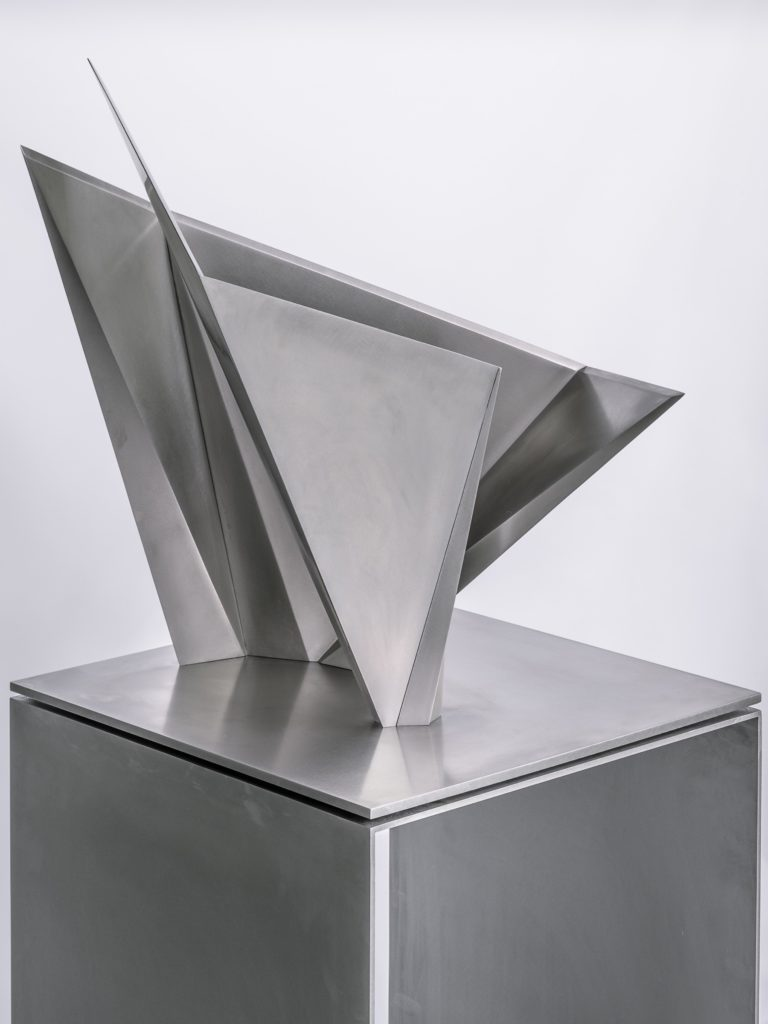 Stainless steel geometric sculpture created in collaboration with Toyo Ito