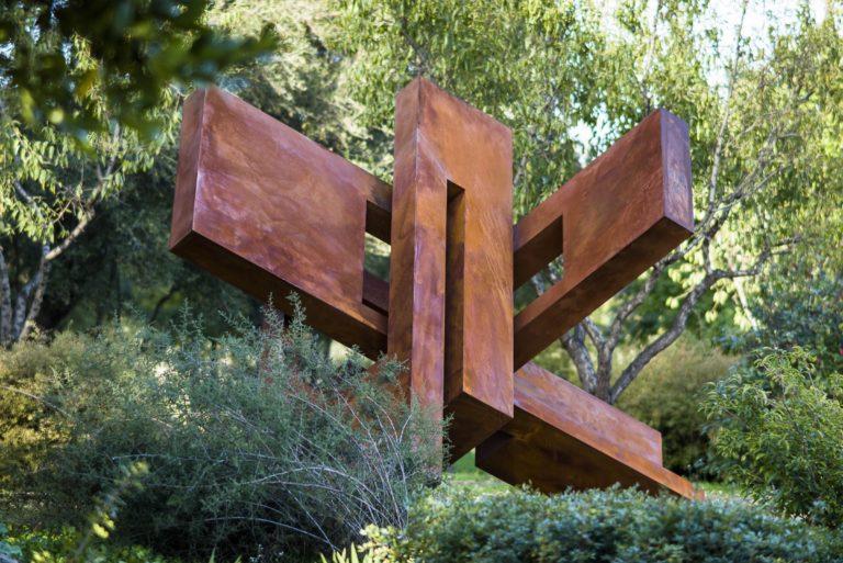 Large scale oxidized corten steel sculpture