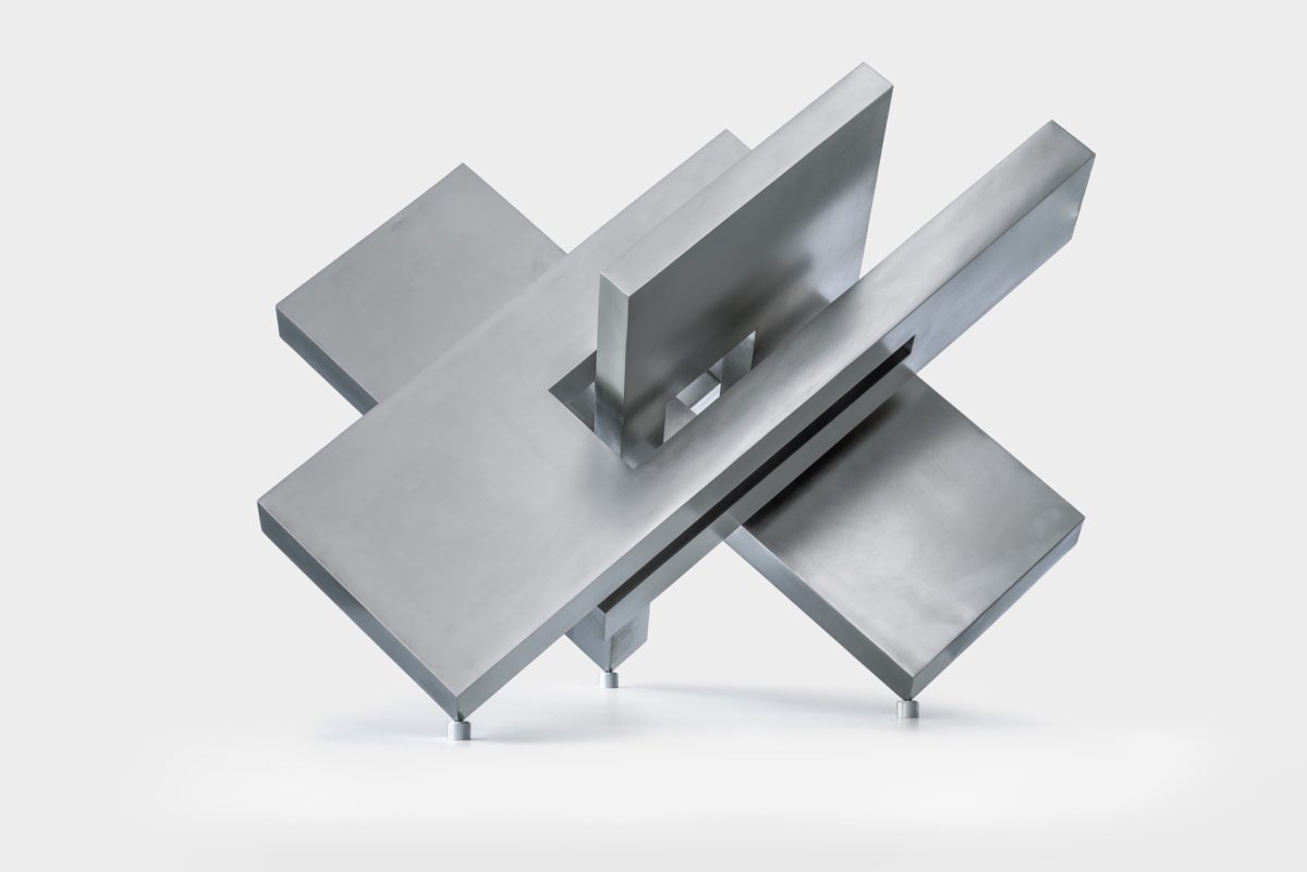 Inox steel sculpture with polished finish