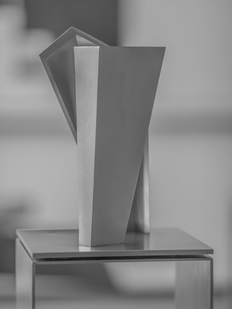 Stainless steel sculpture by Arturo Berned, part of the Dual Year exhibition