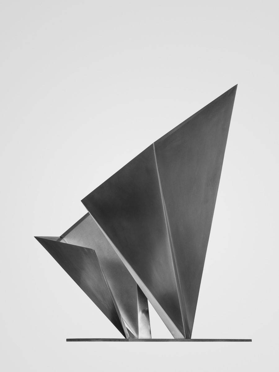 Stainless steel sculpture with polished finish by Arturo Berned