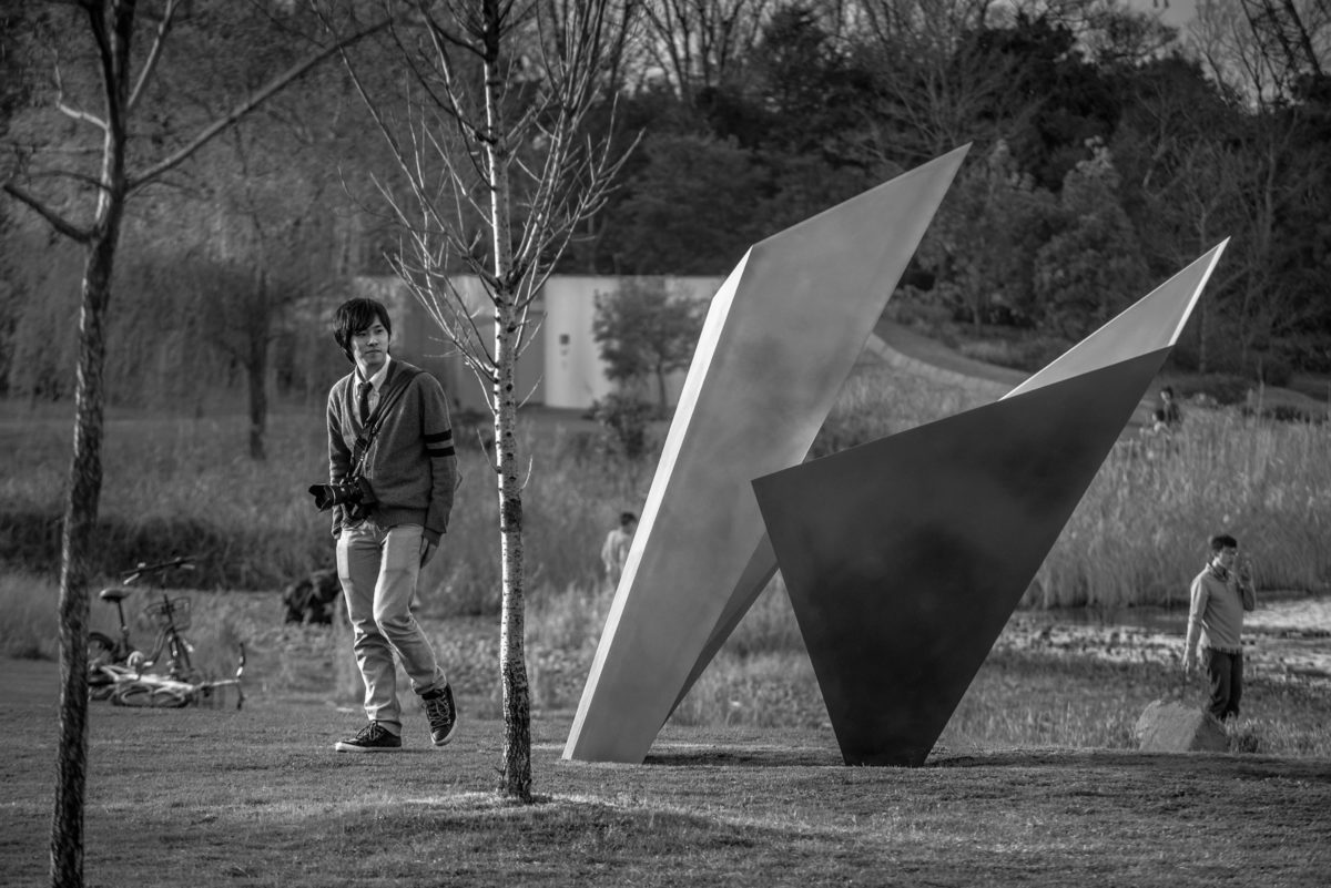 Stainless steel origami sculpture