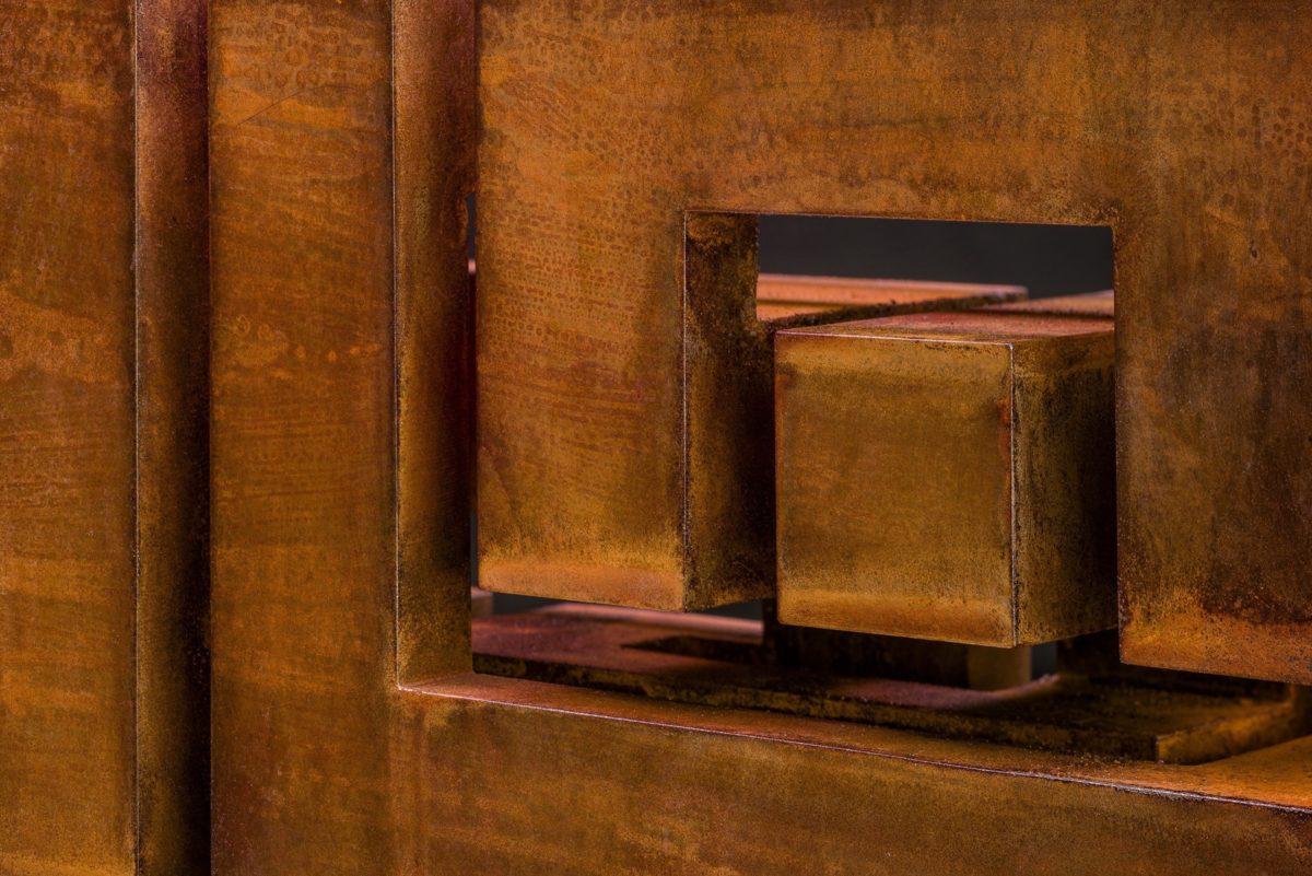 Oxidized corten steel gnomon by Arturo Berned