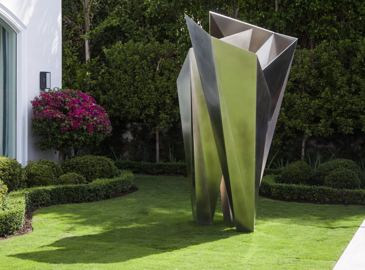 Polished stainless steel origami sculpture