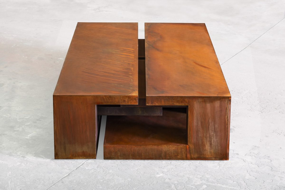 Arturo Berned's box, made with oxidized corten steel