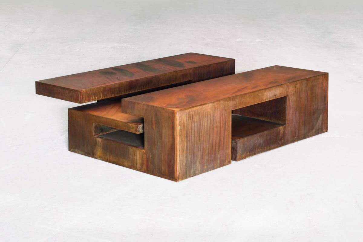 Table shaped box made with oxidized corten steel