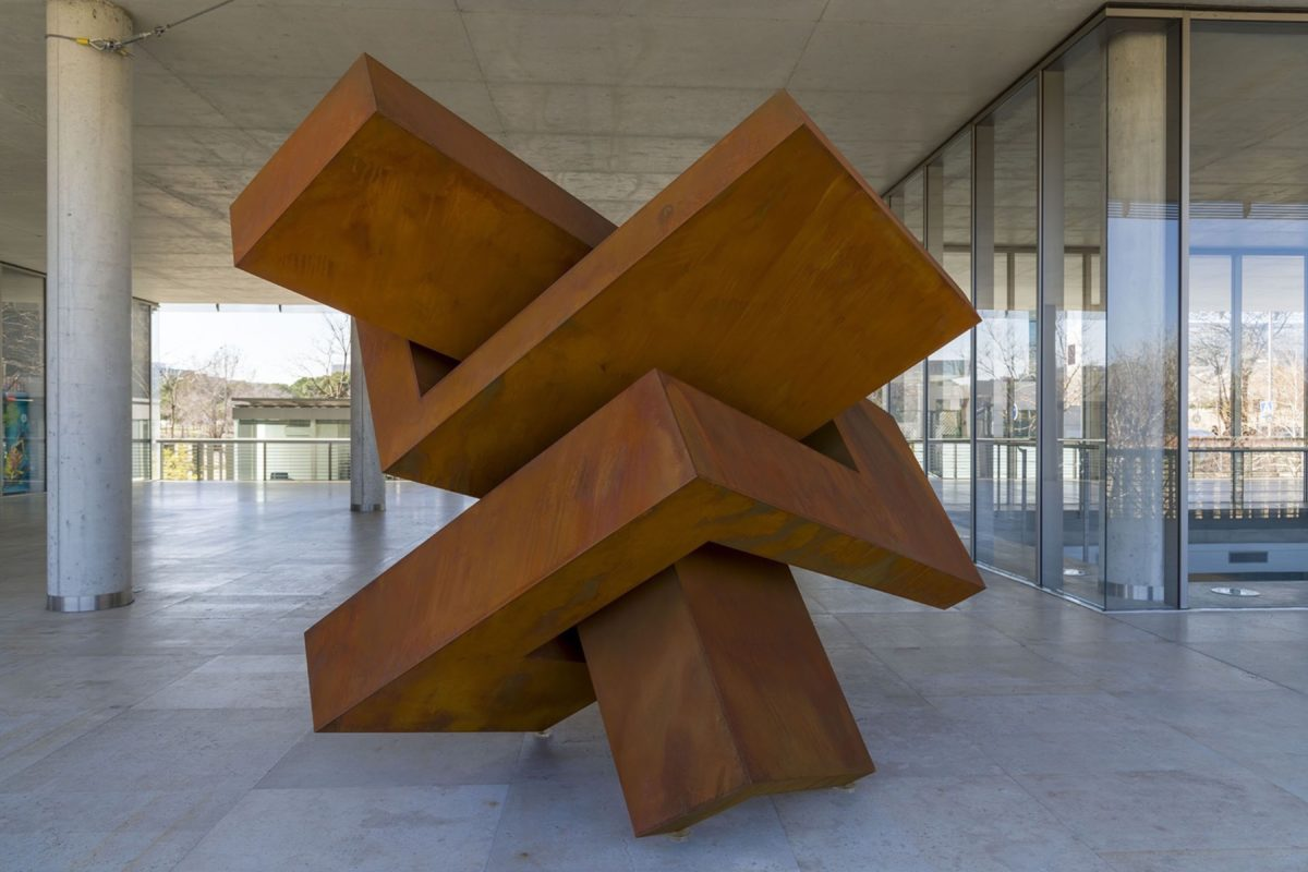 Oxidized corten steel sculpture
