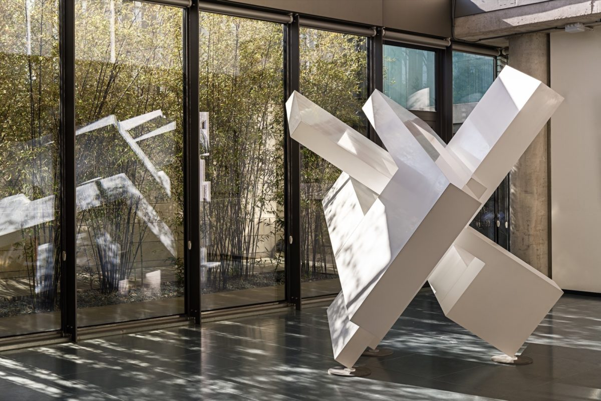 Large scale sculpture made with corten steel with white lacquered finish