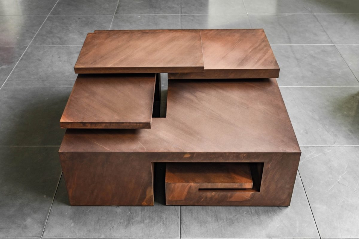 Corten steel box with oxidized finish