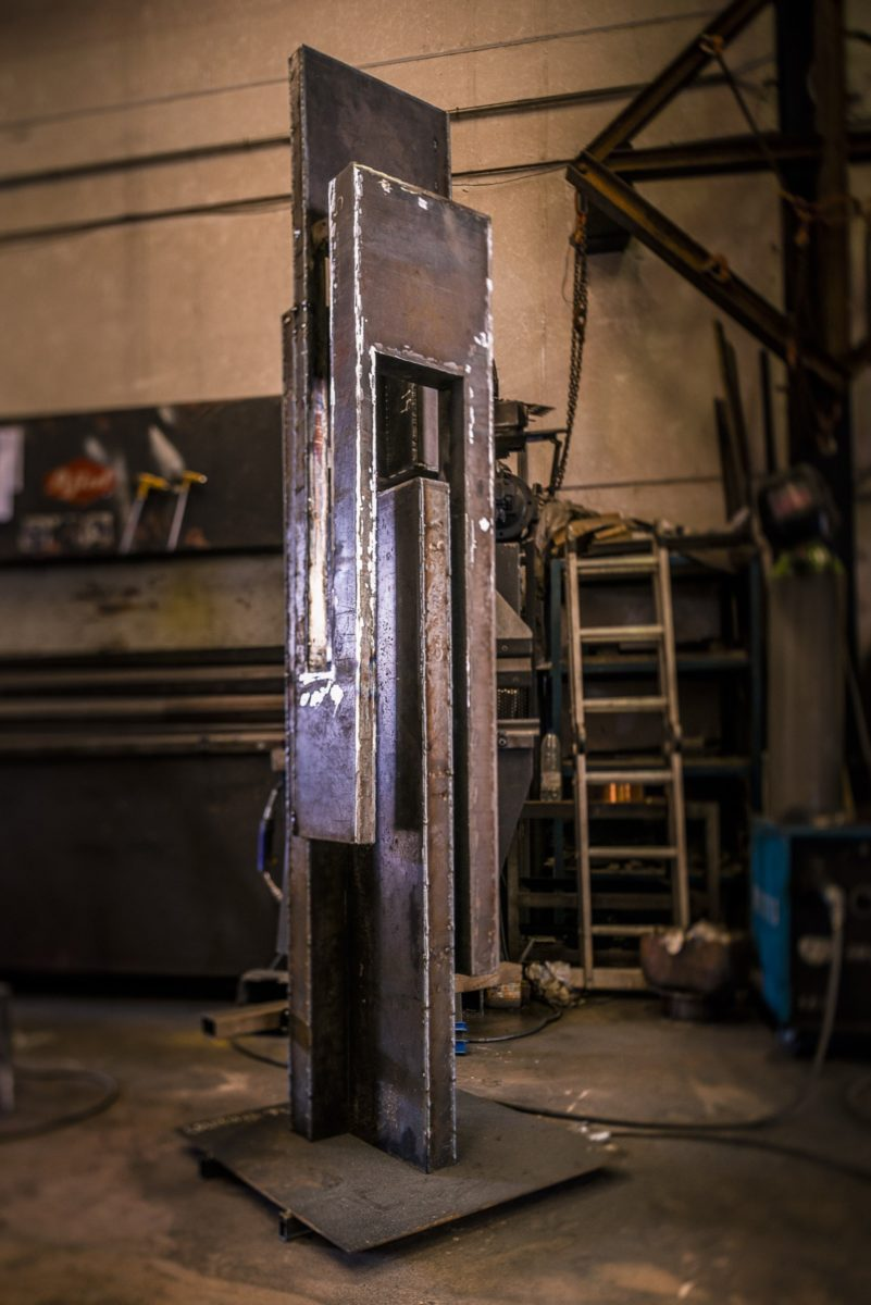 Arturo Berned's work column in the workshop